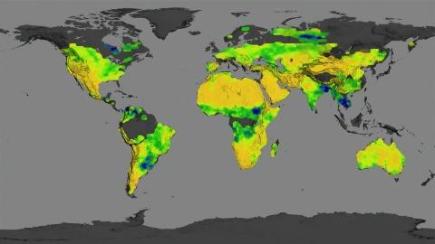 Aquarius Landkarte über Bodenfeuchtigkeit der Erde