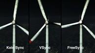 Windmühlen-Demo ohne Sync gegen VSync gegen Freesync