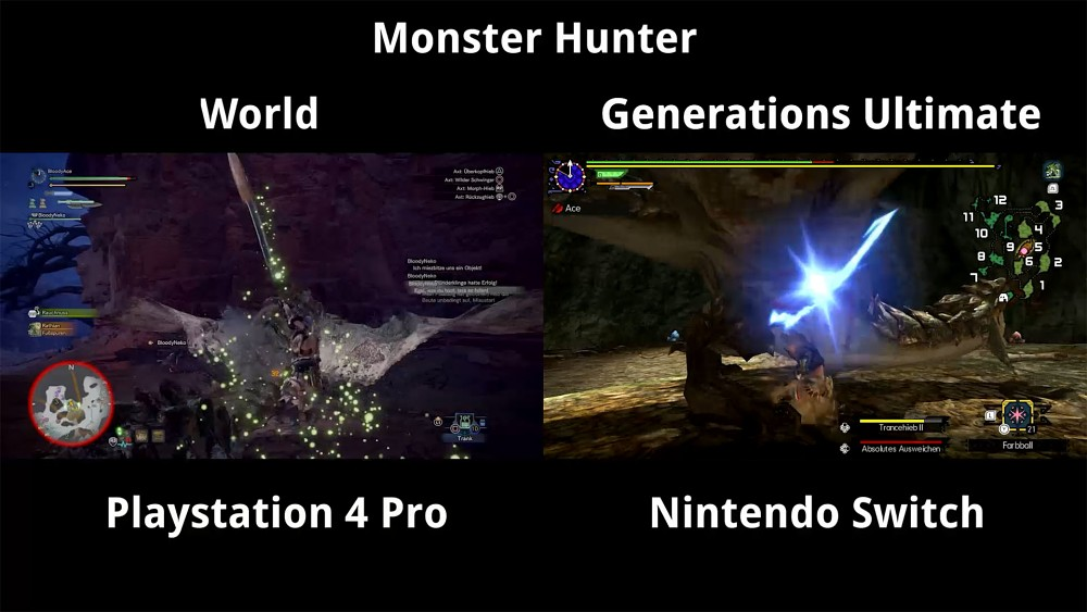 Monster Hunter World vs Generations Ultimate Gameplay