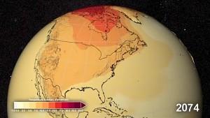 Prognose der Erderwärmung bis ins Jahr 2100 (Nasa)
