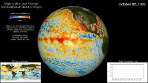 Anstieg des Meeresspiegels zwischen 1993 und 2015 (Nasa)