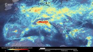 Reduktion der Stickoxid-Emissionen über Italien - Esa