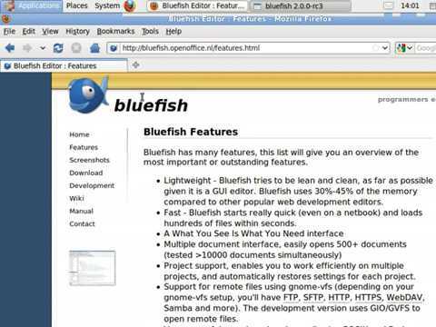 Neuheiten in Bluefish Editor 2.0