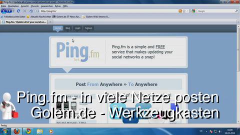 Golem.de - Werkzeugkasten - Ping.fm