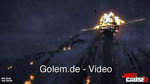 Just Cause 2 Benchmark - Der dunkle Turm mit maximalen Grafikeinstellungen (Radeon 5850)