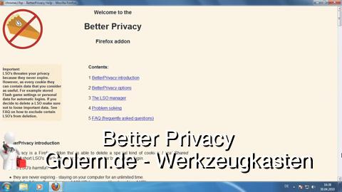 Golem.de - Werkzeugkasten - Better Privacy