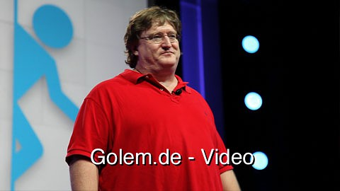 Gabe Newell präsentiert Portal 2 für Playstation 3 auf der Sony-Pressekonferenz der E3 2010
