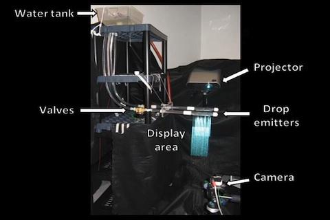 Aqualux 3D - Mehrschichtprojektion auf Wassertropfen