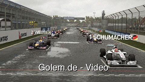 F1 2010 - Spielszenen (Gameplay) aus Melbourne und Singapur von Golem.de