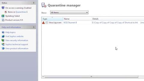 Sophos zeigt die Infektion eines Windows-PCs mit Stuxnet