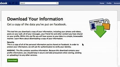 Facebooks Downloadfunktion für das eigene Profil