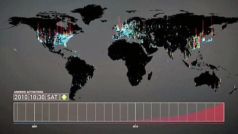 Aktivierung von Android-Geräten von 2008 bis 2011 visualisiert