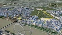 Google Earth - London in fein detailliertem 3D-Modell
