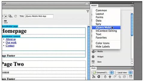 Dreamweaver integriert jQuery Mobile - Herstellervideo