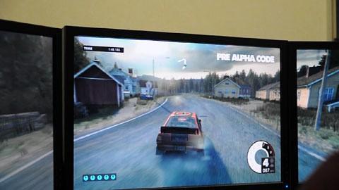 Dirt 3 in Alphaversion mit drei Monitoren und Radeon HD 6670