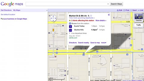 Google Maps mit Echtzeitfahrzeiten öffentlicher Verkehrsmittel