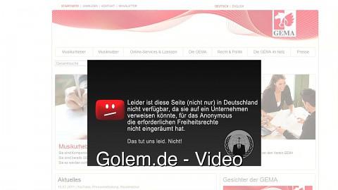 Anonymous hackt Internetseite der Gema