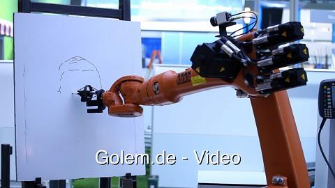 Zeichnender Roboter von Kuka (Cebit 2012)