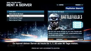 Battlefield 3 - Server in der Konsolenversion mieten