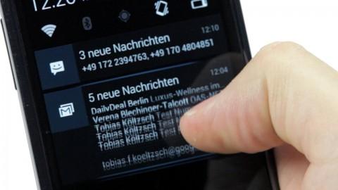 Benachrichtigungen in Android 4.1.2