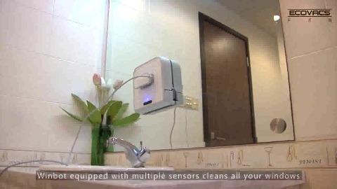 ecovacs winbot roboter putzt fenster und spiegel video. Black Bedroom Furniture Sets. Home Design Ideas